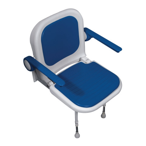 4000 Series Standard Shower Seat with Back and Arms - Blue Padded